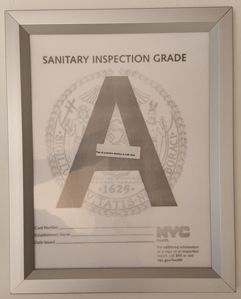 "NYC Sanitary Inspection Grade Frame 8.5""x 11"