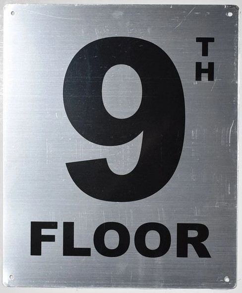 floor number sign silver