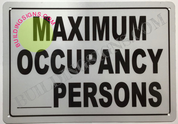 HPD MAXIMUM OCCUPANCY __PERSONS SIGNS