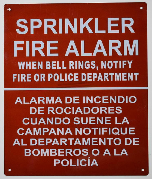 Sprinkler FIRE Alarm When Bell Rings CALL 911 SIGN