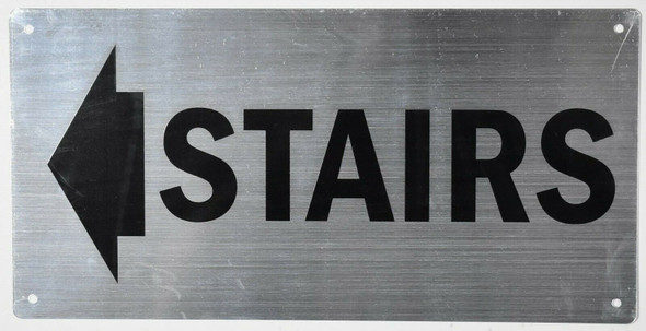 Stairs Arrow Left Sign Silver,