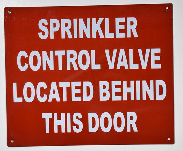 Sprinkler Control Valve Located Behind This Door Sign