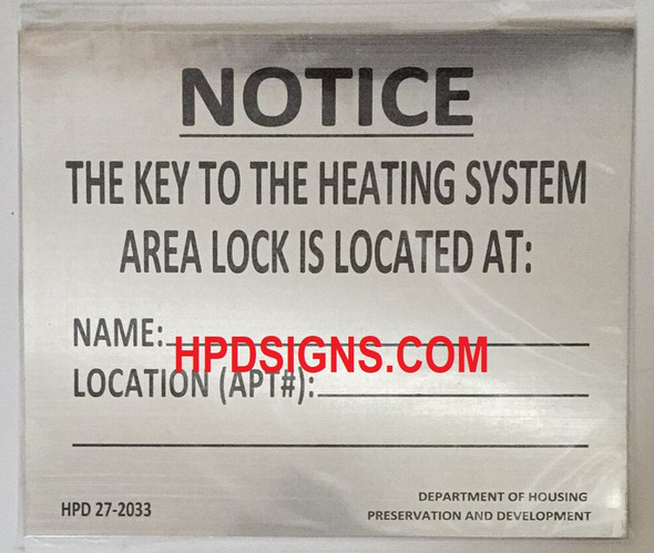 NYC HPD KEY TO THE BOILER ROOM SIGN