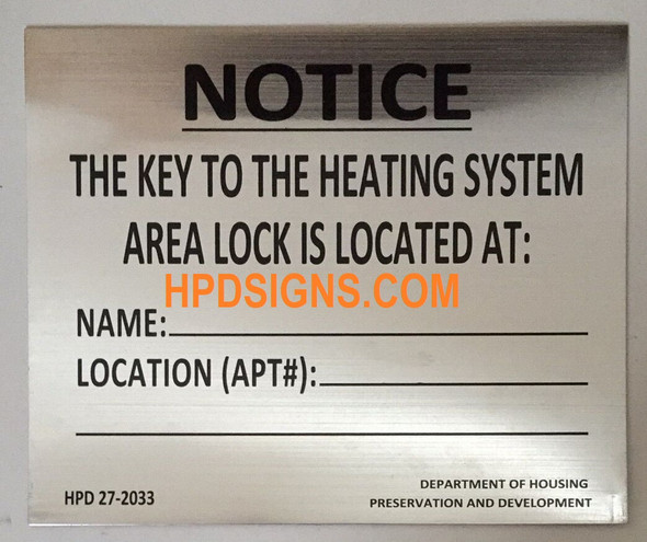 HPD NYC KEY TO THE BOILER ROOM SIGN