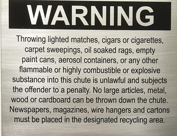 Chute sign - Warning - Delicato line - Brushed Aluminum