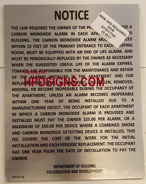NYC HPD Carbon Monoxide Detector Notice