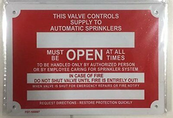 This Valve Controls Supply to Automatic Sprinkler Sign