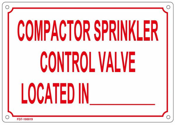 COMPACTOR SPRINKLER CONTROL VALVE LOCATED IN-SIGN
