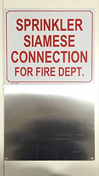 SPRINKLER SIAMESE CONNECTION FOR FIRE DEPARTMENT SIGNAGE