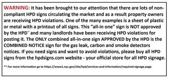 HPD Smoke detector notice (27-2045,28 RCNY § 12-01)-SILVER