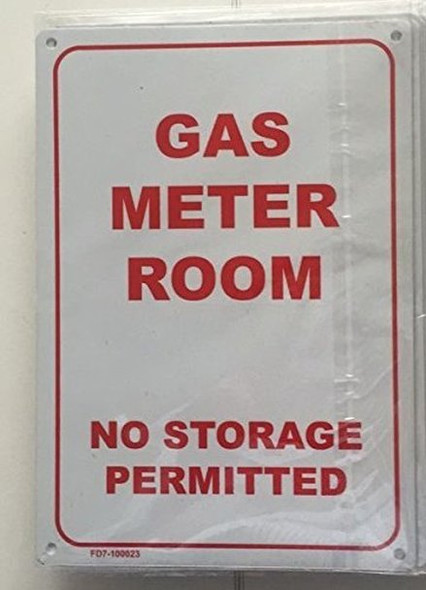 GAS METER ROOM - NO STORAGE PERMITTED SIGN (WHITE 7X10 ALUMINIUM )