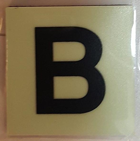 PHOTOLUMINESCENT DOOR IDENTIFICATION NUMBER B SIGN HEAVY DUTY / GLOW IN THE DARK