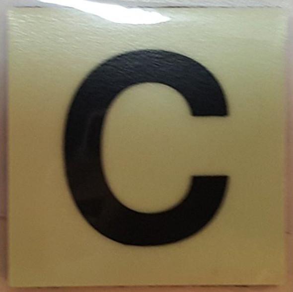 """PHOTOLUMINESCENT DOOR IDENTIFICATION NUMBER C Sign/ GLOW IN THE DARK """"DOOR NUMBER"""" Sign"""