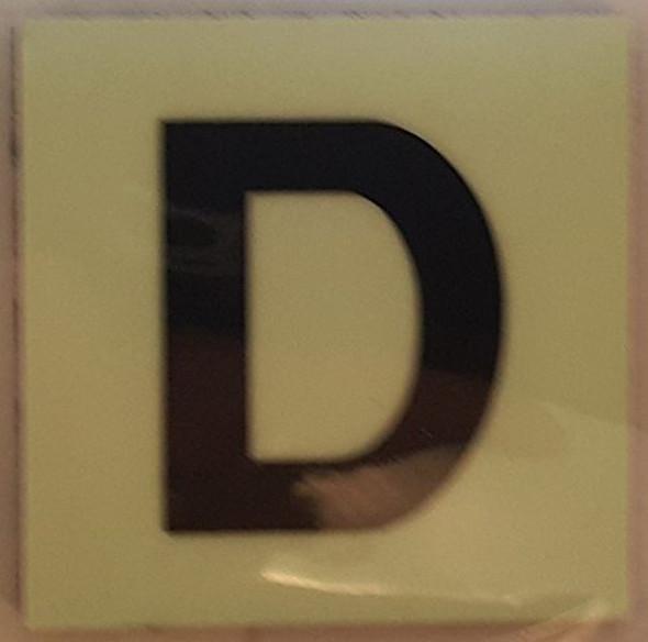 PHOTOLUMINESCENT DOOR IDENTIFICATION NUMBER D SIGN HEAVY DUTY / GLOW IN THE DARK