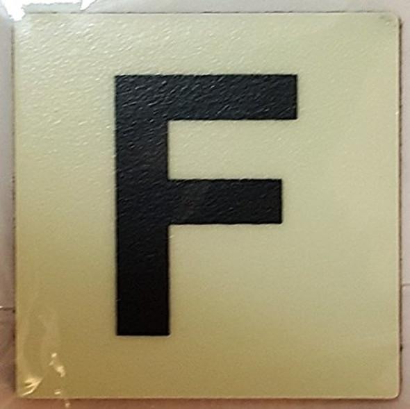 PHOTOLUMINESCENT DOOR IDENTIFICATION NUMBER F SIGN HEAVY DUTY / GLOW IN THE DARK