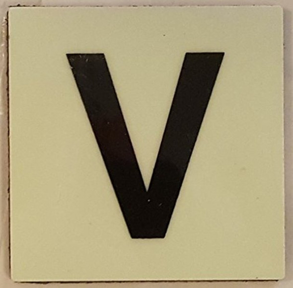 """PHOTOLUMINESCENT DOOR IDENTIFICATION NUMBER V Sign/ GLOW IN THE DARK """"DOOR NUMBER"""" Sign"""