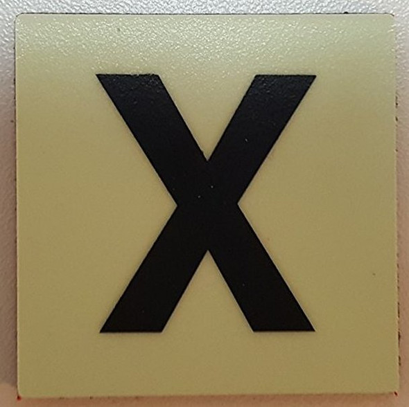 """PHOTOLUMINESCENT DOOR IDENTIFICATION LETTER X Sign/ GLOW IN THE DARK """"DOOR NUMBER"""" Sign"""
