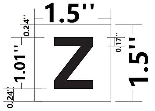 PHOTOLUMINESCENT DOOR IDENTIFICATION LETTER Z SIGN HEAVY DUTY / GLOW IN THE DARK