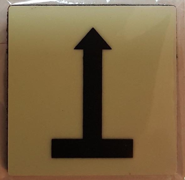 """PHOTOLUMINESCENT DOOR IDENTIFICATION NUMBER ARROW UP Sign/ GLOW IN THE DARK """"DOOR NUMBER"""" Sign"""