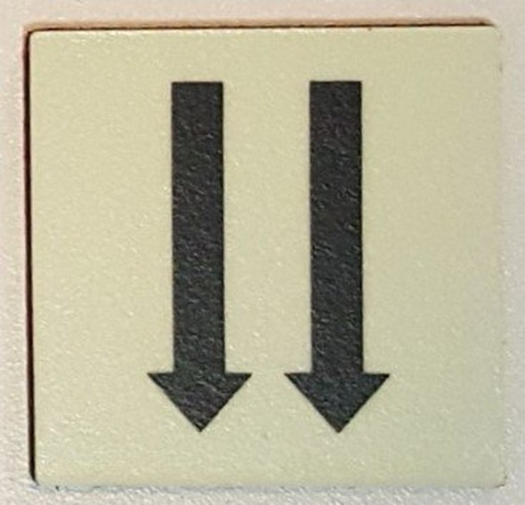PHOTOLUMINESCENT DOOR IDENTIFICATION LETTER TWO ARROW DOWN SIGN HEAVY DUTY / GLOW IN THE