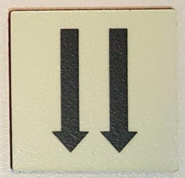 """PHOTOLUMINESCENT DOOR IDENTIFICATION LETTER TWO ARROW DOWN Sign/ GLOW IN THE DARK """"DOOR NUMBER"""" Sign"""