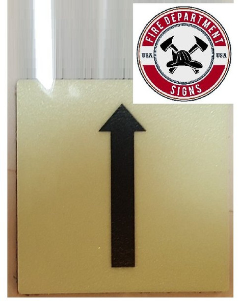 "PHOTOLUMINESCENT DOOR IDENTIFICATION LETTER ""One Arrow UP "" SIGN HEAVY DUTY / GLOW IN THE DARK"