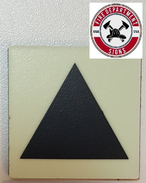 "PHOTOLUMINESCENT DOOR IDENTIFICATION LETTER ""Triangle"" SIGN HEAVY DUTY / GLOW IN THE DARK"