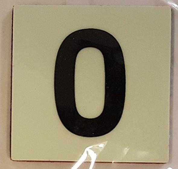 PHOTOLUMINESCENT DOOR IDENTIFICATION NUMBER 0 (ZERO) SIGN HEAVY DUTY / GLOW IN THE DARK
