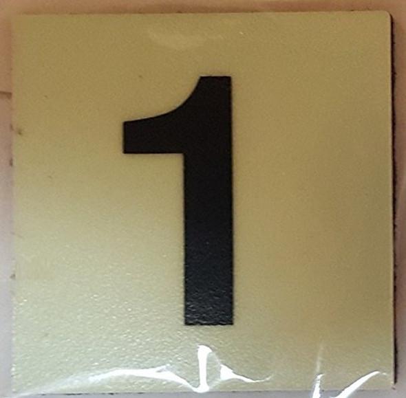 """PHOTOLUMINESCENT DOOR IDENTIFICATION LETTER 1 (ONE) Sign/ GLOW IN THE DARK """"DOOR NUMBER"""" Sign"""