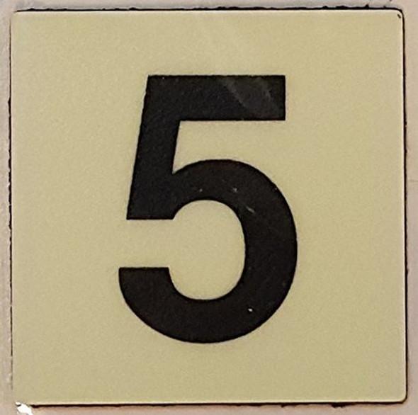 """PHOTOLUMINESCENT DOOR IDENTIFICATION LETTER 5 (FIVE) Sign/ GLOW IN THE DARK """"DOOR NUMBER"""" Sign"""