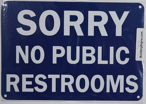 NO Public Restroom Sign (Aluminium, Blue/White,Size 7x10)