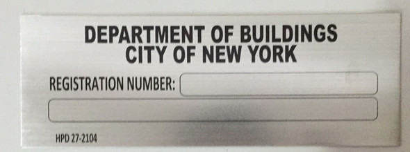 HPD NYC Building registration number sign