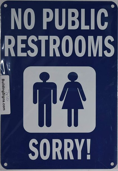 NO Public Restroom with Image Sign (Aluminium, Blue/White,Size 7x10)