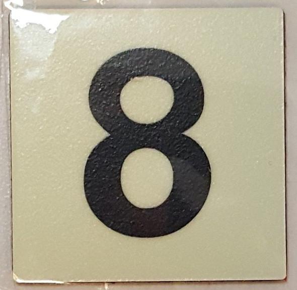 PHOTOLUMINESCENT DOOR IDENTIFICATION LETTER 8 (EIGHT) SIGN HEAVY DUTY / GLOW IN THE DARK