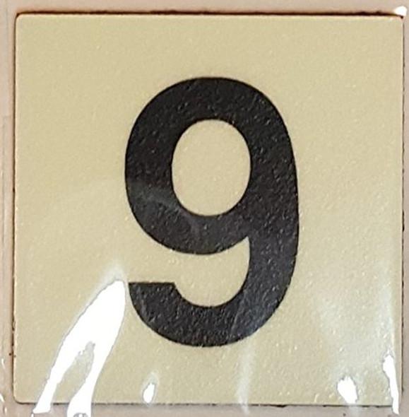 PHOTOLUMINESCENT DOOR IDENTIFICATION LETTER 9 (NINE) SIGN HEAVY DUTY / GLOW IN THE DARK