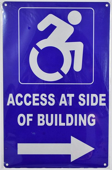 Access at Side of Building Right Arrow  -The Pour Tous Blue LINE Ada Sign