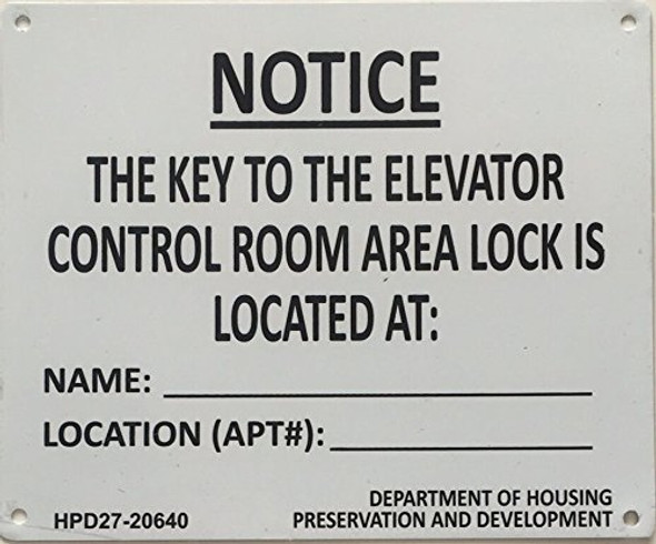 KEY TO ELEVATOR CONTROL ROOM