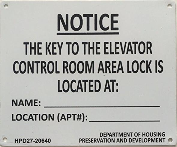 KEY TO ELEVATOR CONTROL ROOM (WHITE-aluminium)