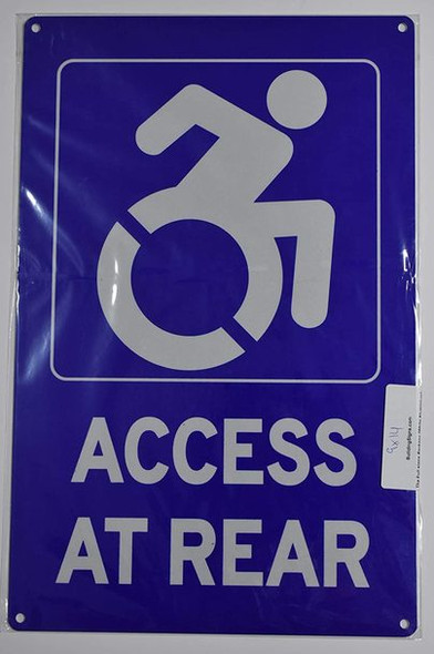 Access at Rear Sign (Aluminium Reflective,Rust Free, Blue 9X14)-The Pour Tous Blue LINE