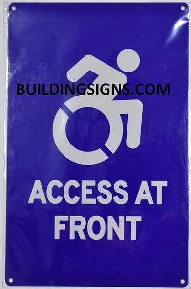 ADA Access at Front -The Pour Tous Blue LINE Ada Sign