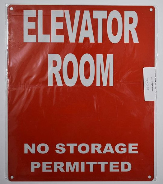 Elevator Room Sign (Red, Reflective, Aluminium 10x12)