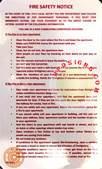 Fire Safety Notice hpd nyc