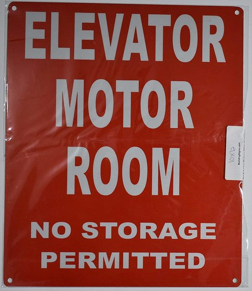 Elevator Motor Room Sign (Red, Reflective, Aluminium )