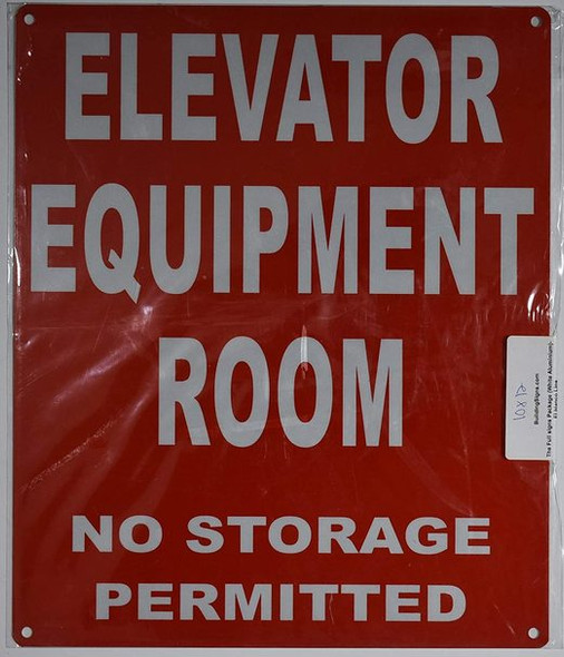 Elevator Equipment Room Sign (Red, Reflective, Aluminium )