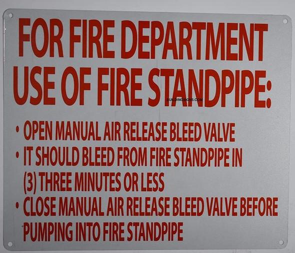 Manual air Release Sign (White, fd Rules, Reflective, Aluminium 10x12)