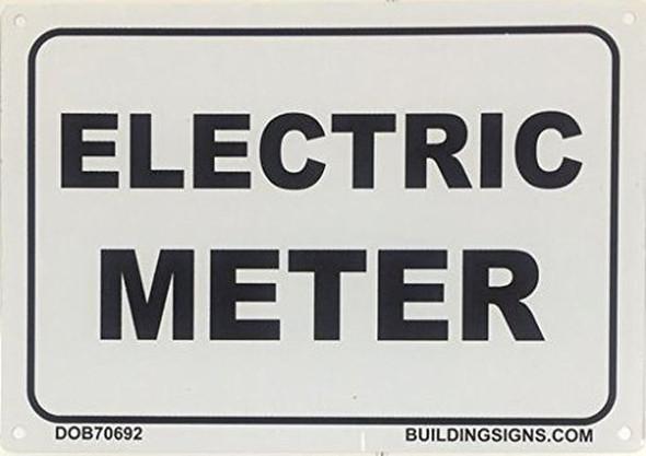 ELECTRIC METER SIGN (WHITE  ALUMINIUM )