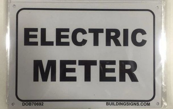 white ELECTRIC METER SIGN