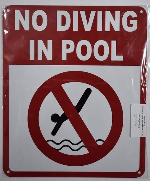 NO Diving in Pool Sign (White,Aluminum 10X12)