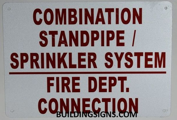 Combination Standpipe/Sprinkler System FIRE Department Connection Sign