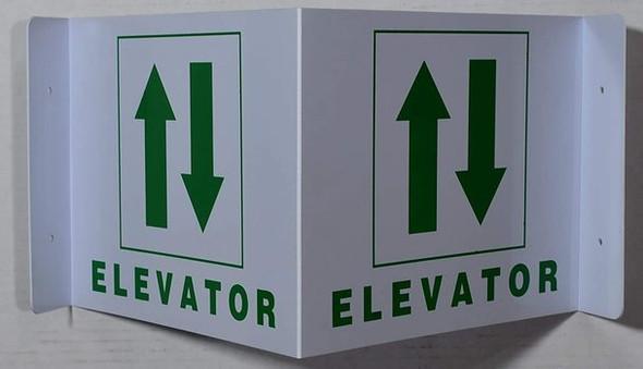 Elevator 3D Projection /Elevator Hallway  (White/Green,Plastic)-Les Deux cotes line